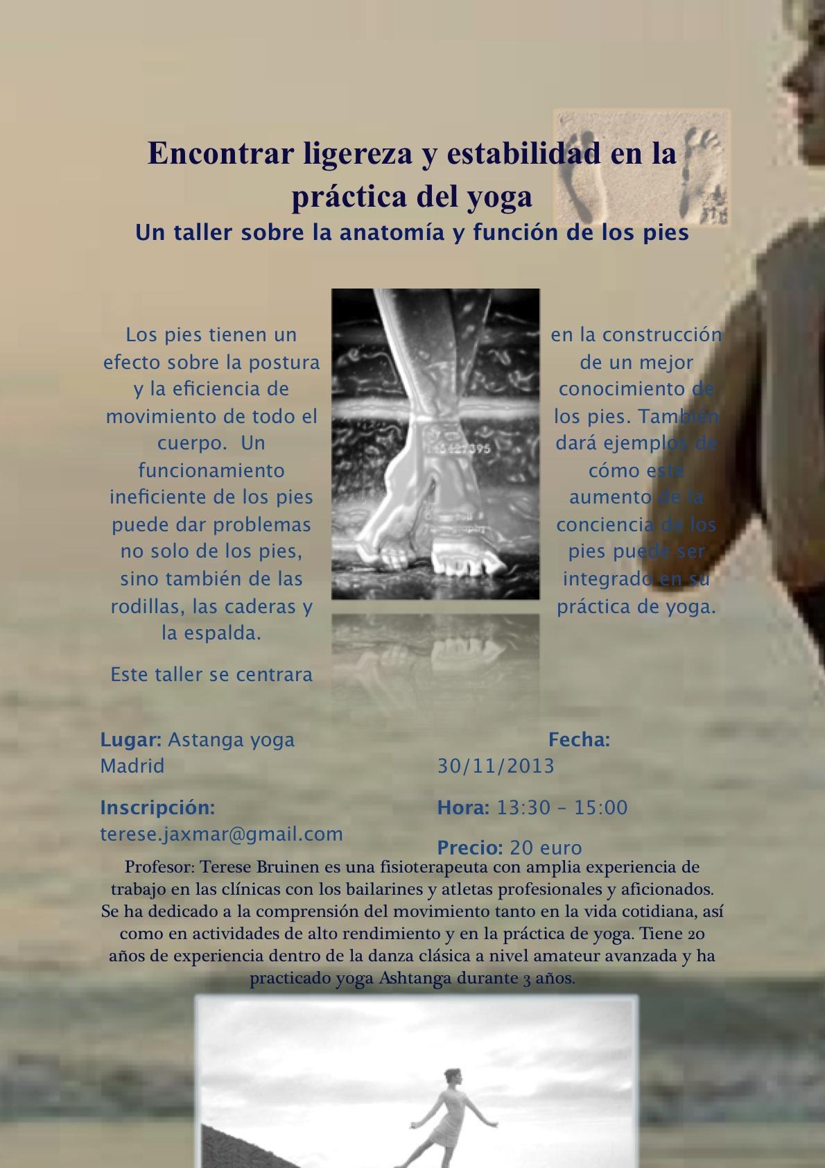 Taller sobre la anatomía y función de los pies - Ashtanga Yoga Madrid