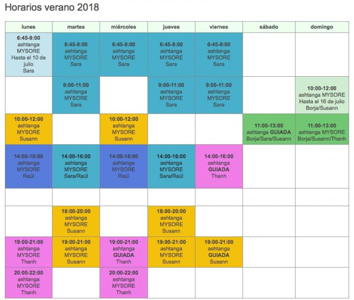 Horario julio 2018