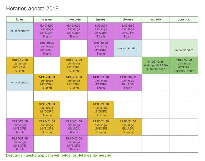 horario agosto 2018